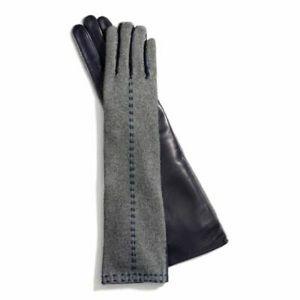 Coach Long Bonnie Stitch Knit Leather Gloves